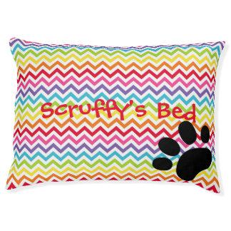 Customizable Dog Name Rainbow Chevron Paw Print Pet Bed