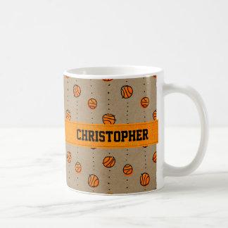 Customizable Dribbling Basketball Pattern Coffee Mugs