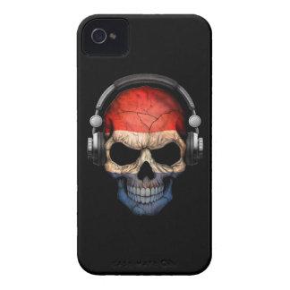 Customizable Dutch Dj Skull with Headphones iPhone 4 Covers