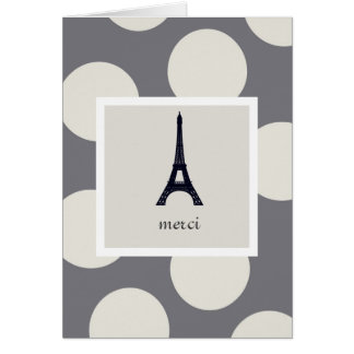 Customizable Eiffel Tower Merci Thank You Card