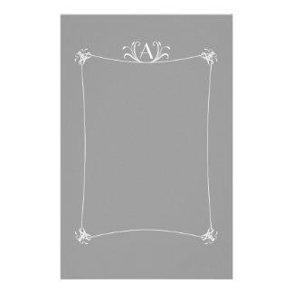 Customizable Elegant Border With Monogram Custom Stationery