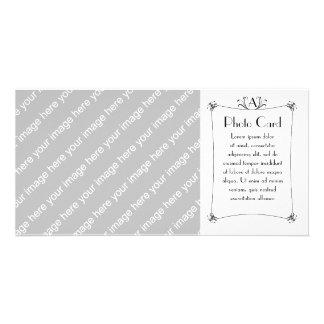 Customizable Elegant Border With Monogram Picture Card