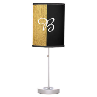 Customizable elegant diagonal golden black design table lamp