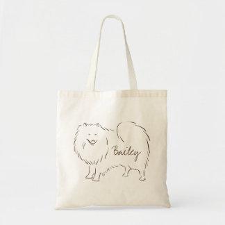 Customizable Elegant Drawn American Eskimo Dog. Tote Bag