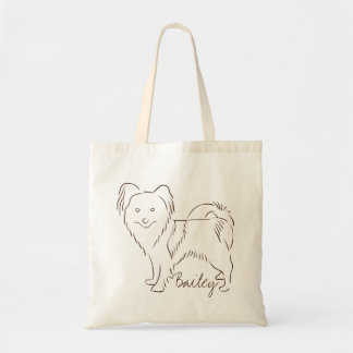 Customizable Elegant Hand Drawn Papillon Dog.