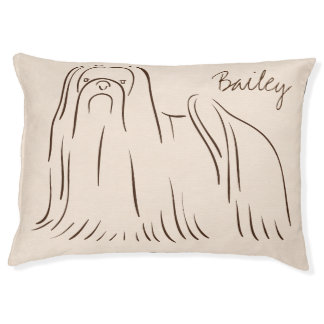 Customizable Elegant Hand Drawn Shihtzu Lion Dog. Large Dog Bed