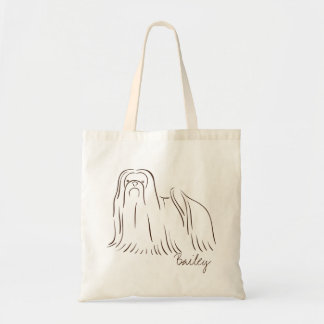 Customizable Elegant Hand Drawn Shihtzu Lion Dog. Tote Bag