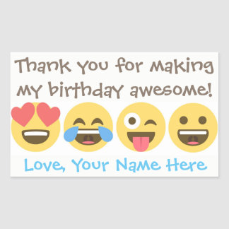 Customizable Emoji Thank You Stickers -Emoji faces