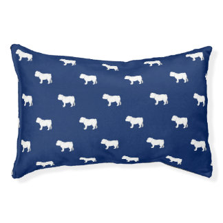 Customizable English Bulldog Silhouette Dog Bed