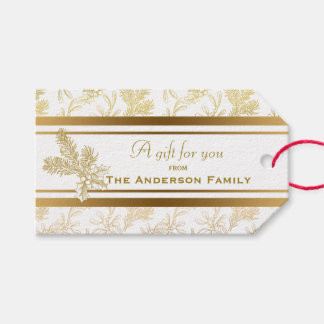 Customizable Engraved Metallic Gold Holiday Floral Pack Of Gift Tags