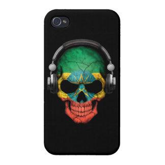 Customizable Ethiopian Dj Skull with Headphones Cover For iPhone 4