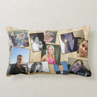 Customizable Fam Photo Pillow in Damask and Browns