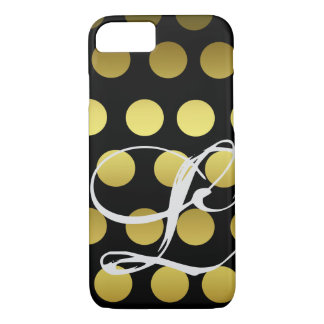 Customizable Faux Gold and Black Monogram Gradient iPhone 8/7 Case