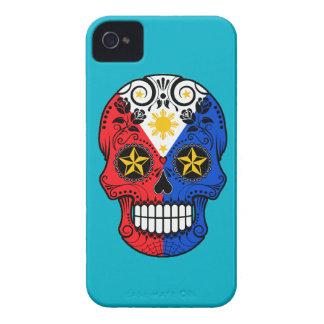 Customizable Filipino Flag Sugar Skull with Roses iPhone 4 Case