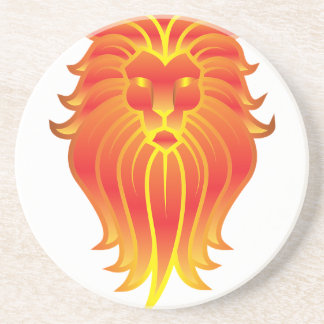 Customizable Fire Leo Zodiac Lion Beverage Coasters