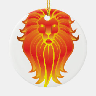 Customizable Fire Leo Zodiac Lion Ceramic Ornament