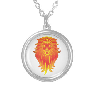 Customizable Fire Leo Zodiac Lion Silver Plated Necklace