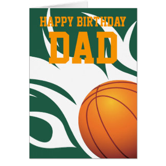 Customizable Flaming Basketball Green and White Greeting Card