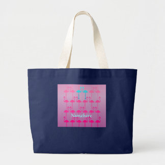 Customizable: Flamingo two Large Tote Bag