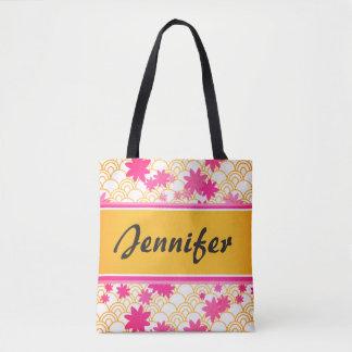 customizable floral pink tote bag