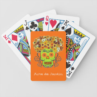 Customizable Floral Sugar Skull Bicycle Playing Cards