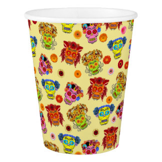 Customizable Floral Sugar Skulls Paper Cup