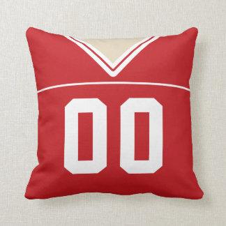 Customizable Football Jersey Number Jersey, Red Throw Pillow
