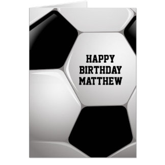 Customizable Football Soccer Ball Happy Birthday Card