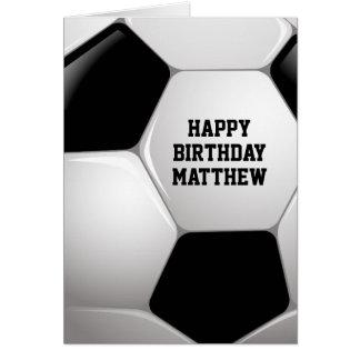 Customizable Football Soccer Ball Happy Birthday Greeting Card