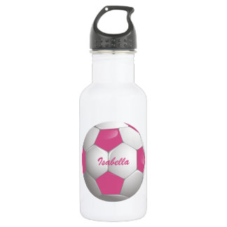 Customizable Football Soccer Ball Pink and White 532 Ml Water Bottle