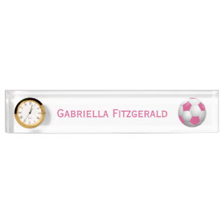 Customizable Football Soccer Ball Pink and White Desk Name Plates