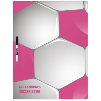 Customizable Football Soccer Ball Pink and White Dry Erase Board