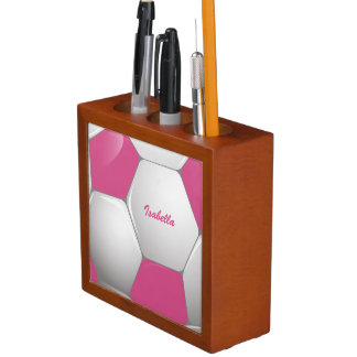 Customizable Football Soccer Ball Pink and White Pencil Holder