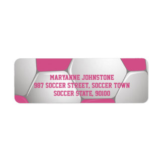 Customizable Football Soccer Ball Pink and White Return Address Label