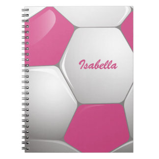 Customizable Football Soccer Ball Pink and White Spiral Notebook