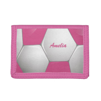 Customizable Football Soccer Ball Pink and White Tri-fold Wallet