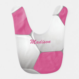 Customizable Football Soccer Ball Pink and White Bib