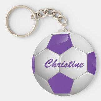 Customizable Football Soccer Ball Purple and White Keychain