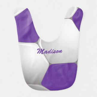 Customizable Football Soccer Ball Purple and White Baby Bibs