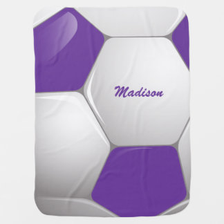 Customizable Football Soccer Ball Purple and White Stroller Blankets