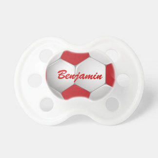 Customizable Football Soccer Ball Red and White Pacifier