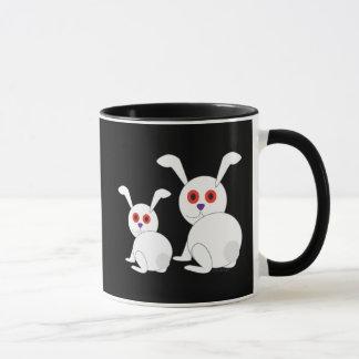 Customizable Freaked White bunnies with red eyes Mug