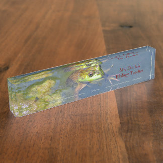 "CUSTOMIZABLE / ""FROG PEERING ABOVE WATER IN POND"" NAMEPLATE"