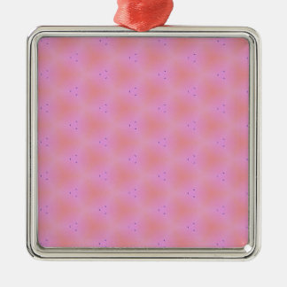 Customizable Funky Girly Pink  Background Pattern Silver-Colored Square Ornament