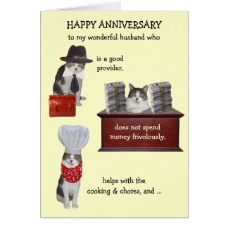 Customizable Funny Cat Husband Anniversary Card