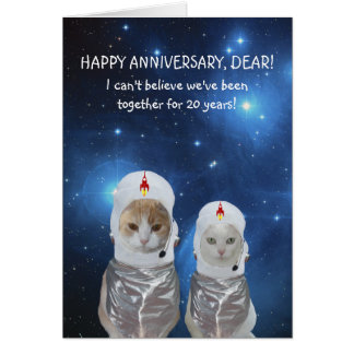 Customizable Funny Cats Space Anniversary Card