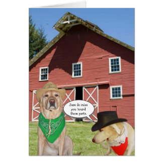 Customizable Funny Dogs We Miss You Greeting Card