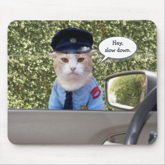 Customizable Funny Officer Cat Mouse Pad