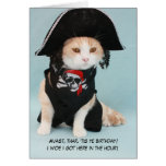 Customizable Funny Pirate Cat Greeting Card
