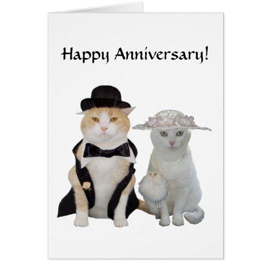 Customizable Funny,Pretty Cats/Kitties Anniversary Card